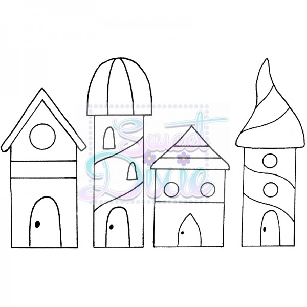 Lindsay Mason Designs - Zendoodle Houses Clear Stamp size A6