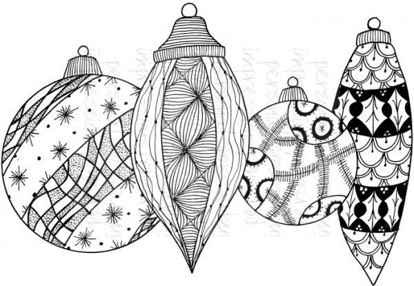 Lindsay Mason Designs - Zendoodle Baubles Ready To Go A6 Clear Stamp