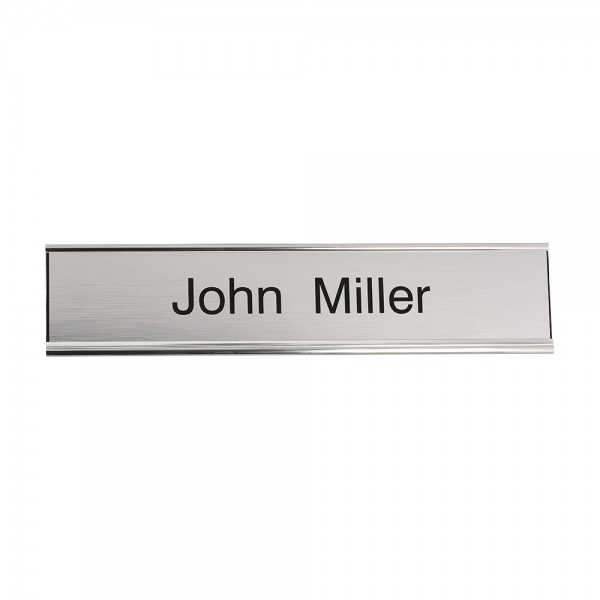 Door Nameplate engraved 200 x 50 mm - silver-black