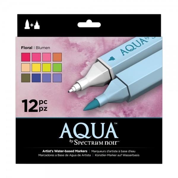 Spectrum Noir 12pk Aqua Markers Set - Floral