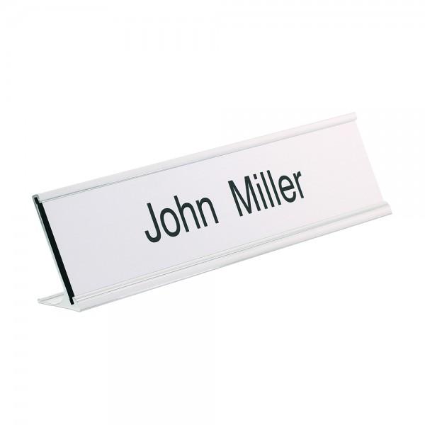 Desk Nameplate engraved - 250 x 50 mm - silver-black