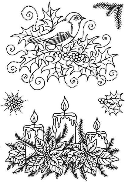 Sue Dix - Robin and Candles Clear Stamp