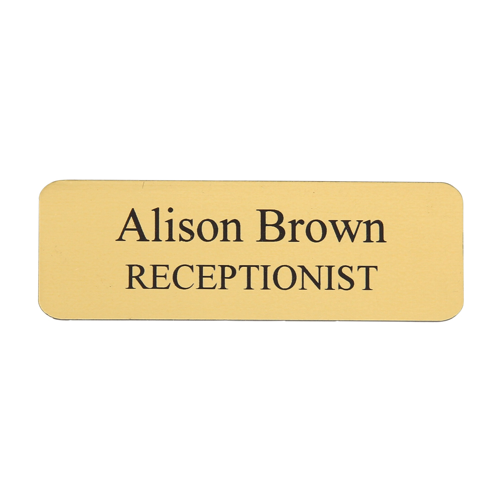 Personalised Name Badge Engraved Text 75 X 25 Mm