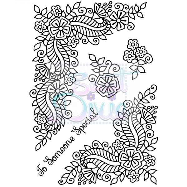 Sue Dix Designs - Fantasy Floral Corners Clear Stamp size A6