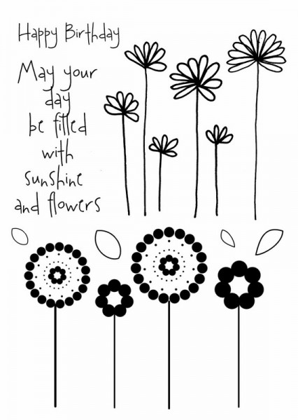 Art Stamps - Sunshine & Flowers Clear Stamp