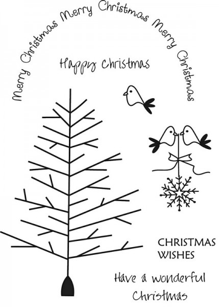 Art Stamps - Christmas Birds and Tree Clear Stamp