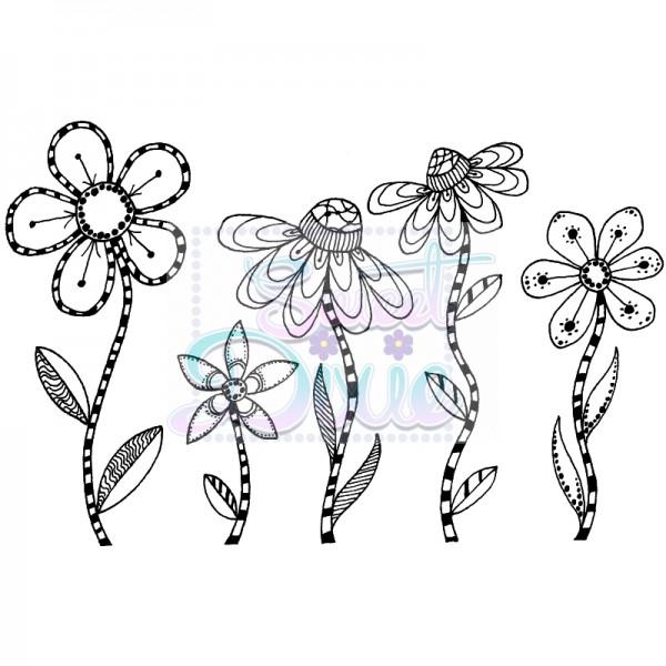 Lindsay Mason Designs - Zendoodle RTG Flowers Clear Stamp size A6